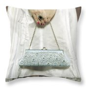 Blue Handbag Throw Pillow