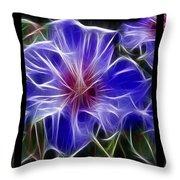 Blue Hibiscus Fractal Throw Pillow