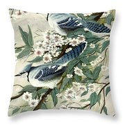Blue Jays And Blossoms Throw Pillow