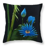 Blue Lotus Throw Pillow