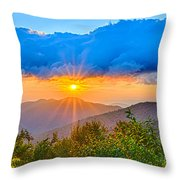 Blue Ridge Parkway Late Summer Appalachian Mountains Sunset West Throw Pillow