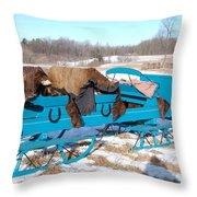 Blue Sleigh Throw Pillow