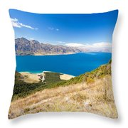 Blue Surface Of Lake Hawea In Central Otago In New Zealand Throw Pillow