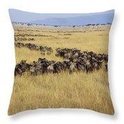 Blue Wildebeest Migrating Masai Mara Throw Pillow