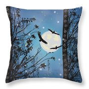 Blue Winter Throw Pillow