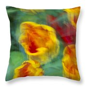 Blurred Tulips Throw Pillow