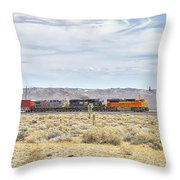 Bnsf 9112 Westbound From Boron Throw Pillow
