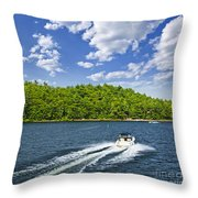 Boating On Lake Throw Pillow by Elena Elisseeva