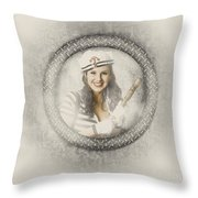 Boating Pin-up Woman On Nautical Shipping Voyage Throw Pillow