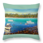 Boats At Merimbula Australia  Throw Pillow