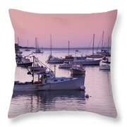 Boats In The Atlantic Ocean At Dawn Throw Pillow