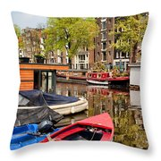 Boats On Canal In Amsterdam Throw Pillow