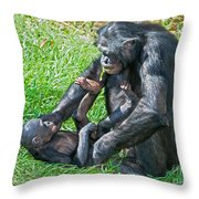 Bonobo Adult And Baby Throw Pillow