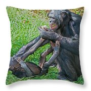 Bonobo Adult Playing With Baby Throw Pillow