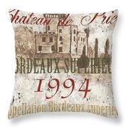 Bordeaux Blanc Label 2 Throw Pillow