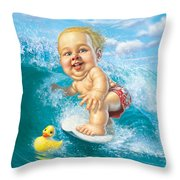 Born To Surf Throw Pillow