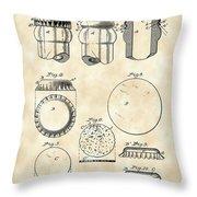 Bottle Cap Patent 1892 - Vintage Throw Pillow