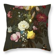 Bouquet Of Flowers In A Glass Vase Throw Pillow