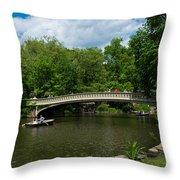 Bow Bridge Central Park Throw Pillow