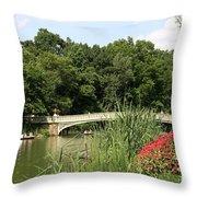 Bow Bridge Over The Lake Throw Pillow