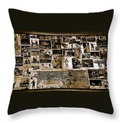 Boxing Collage Virginian Hotel Saloon Medicine Bow Wyoming 1971-2008 Sepia Toned Throw Pillow