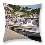 Brela Harbour Croatia Throw Pillow
