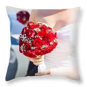 Bride Holding Red Rose Flower Bunch Throw Pillow