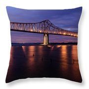 Commmodore Barry Bridge In The Blue Hour Throw Pillow