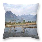 Bridge In Vang Vieng Laos Throw Pillow