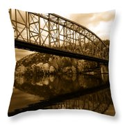 Bridge Reflections In Autumn Throw Pillow