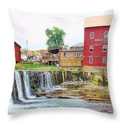Bridgeton Mill And Covered Bridge Throw Pillow