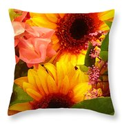 Bright Spring Flowers Throw Pillow