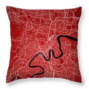 Brisbane Street Map - Brisbane Australia Road Map Art On Colored Throw Pillow