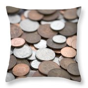 British Coins Sterling Full Frame Throw Pillow