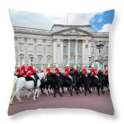 British Royal Guards Perform The Changing Of The Guard In Buckingham Palace Throw Pillow