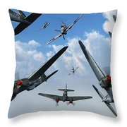 British Supermarine Spitfires Attacking Throw Pillow