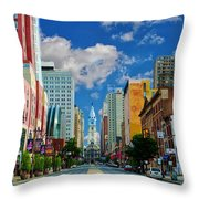 Broad Street - Avenue Of The Arts Throw Pillow