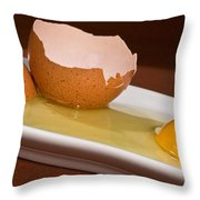 Broken Brown Egg Throw Pillow