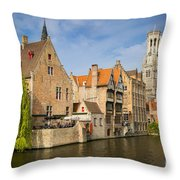 Bruges Canals Throw Pillow