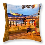 Budapest By Night Paint Throw Pillow