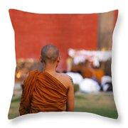 Buddhist Monk At Lumbini In Nepal Throw Pillow by Robert Preston