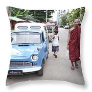 Buddhist Monks In Yangon Street Myanmar Throw Pillow