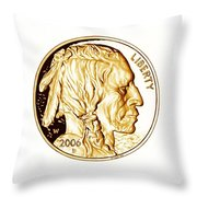 Buffalo Nickel Throw Pillow by Fred Larucci