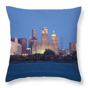 Buffalo Skyline From Fort Erie At Dusk Throw Pillow