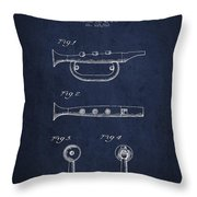 Bugle Call Instrument Patent Drawing From 1939 - Navy Blue Throw Pillow