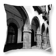 Buildings In Ponta Delgada Throw Pillow