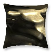 Bull Market Bronze Casting Contrast Throw Pillow by Allan Swart