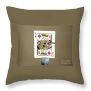 Bullet Piercing Playing Card Throw Pillow by Gary S. Settles