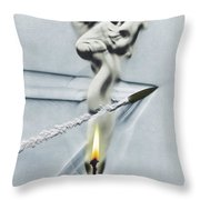 Bullet Shot Through Candle Flame Throw Pillow by Science Source