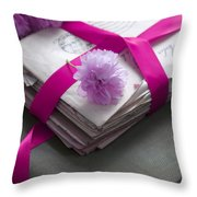 Bundle Of Old Love Letters Tied With Ribbon And Blossom Throw Pillow